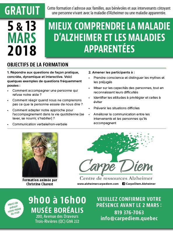 Formation Alzheimer et maladies apparentées - 5-13 mars 2018 à Trois-Rivières