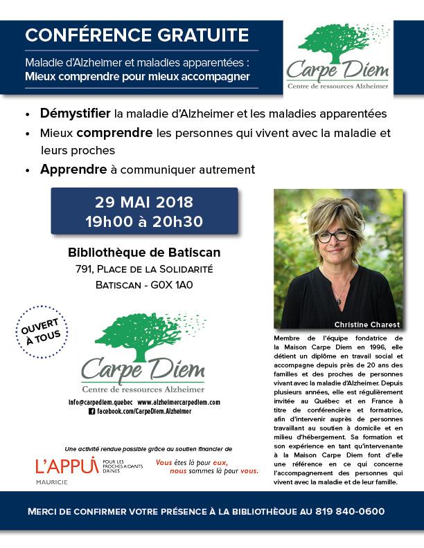 Conférence gratuite Alzheimer - 29 mai 2018 Batiscan