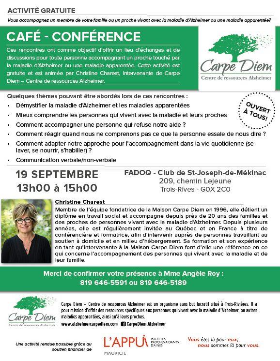 Café-conférence - 19 septembre 2018 Trois-Rives